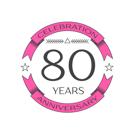 80th: Realistic eighty years anniversary celebration logo with ring and ribbon on white background. Vector template for your design Illustration