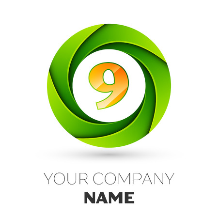 Realistic number nine vector logo symbol in the colorful circle on white background. Vector template for your design