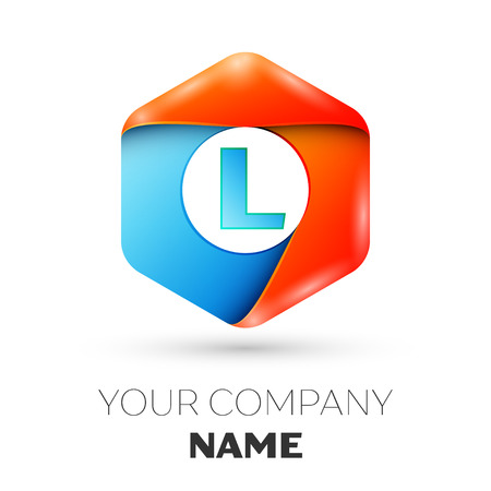 Letter L vector logo symbol in the colorful hexagonal on white background. Vector template for your design