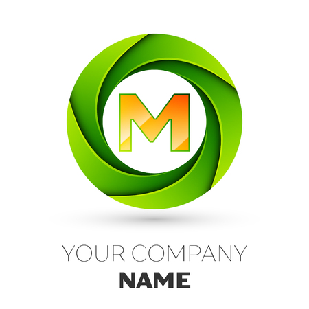 Realistic Letter M vector logo symbol in the colorful circle on white background. Vector template for your design