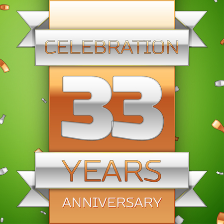 Realistic Thirty three Years Anniversary Celebration Design. Silver and golden ribbon, confetti on green background. Colorful Vector template elements for your birthday party. Anniversary ribbon Illustration