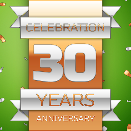 Realistic Thirty Years Anniversary Celebration Design. Silver and golden ribbon, confetti on green background. Colorful Vector template elements for your birthday party. Anniversary ribbon