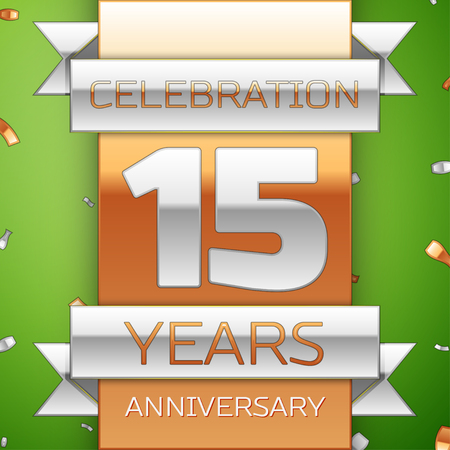 Realistic Fifteen Years Anniversary Celebration Design. Silver and golden ribbon, confetti on green background. Colorful Vector template elements for your birthday party. Anniversary ribbon