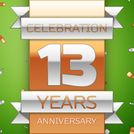 thirteen: Realistic Thirteen Years Anniversary Celebration Design. Silver and golden ribbon, confetti on green background. Colorful Vector template elements for your birthday party. Anniversary ribbon Illustration