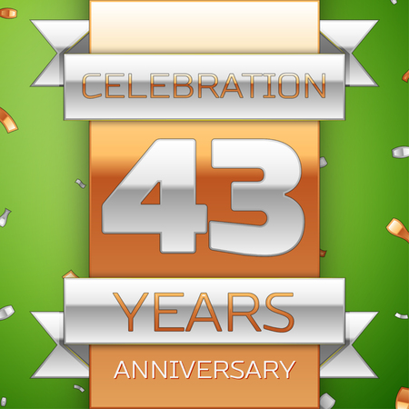 Realistic Forty three Years Anniversary Celebration Design. Silver and golden ribbon, confetti on green background. Colorful Vector template elements for your birthday party. Anniversary ribbon