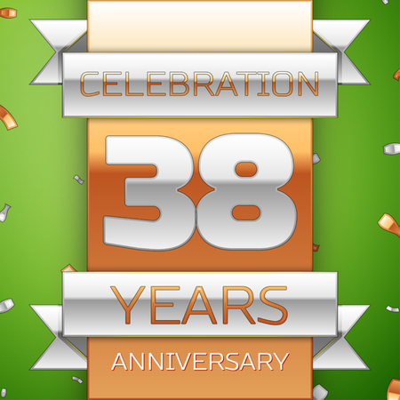Realistic Thirty eight Years Anniversary Celebration Design. Silver and golden ribbon, confetti on green background. Colorful Vector template elements for your birthday party. Anniversary ribbon Illustration