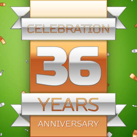 number 36: Realistic Thirty six Years Anniversary Celebration Design. Silver and golden ribbon, confetti on green background. Colorful Vector template elements for your birthday party. Anniversary ribbon