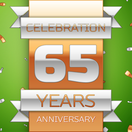 Realistic Sixty five Years Anniversary Celebration Design. Silver and golden ribbon, confetti on green background. Colorful Vector template elements for your birthday party. Anniversary ribbon