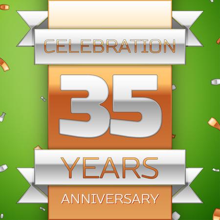 Realistic Thirty five Years Anniversary Celebration Design Illustration