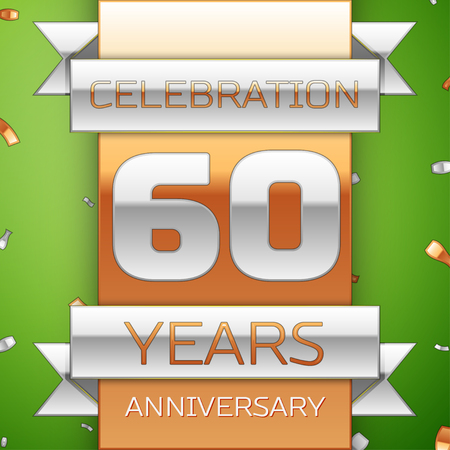 Realistic Sixty Years Anniversary Celebration Design. Silver and golden ribbon, confetti on green background. Colorful Vector template elements for your birthday party. Anniversary ribbon