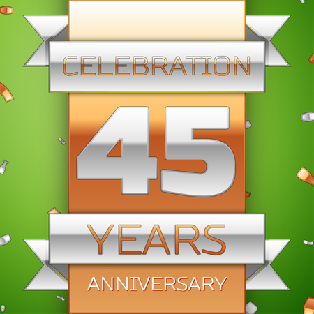 Realistic Forty five Years Anniversary Celebration Design. Silver and golden ribbon, confetti on green background. Colorful Vector template elements for your birthday party. Anniversary ribbon
