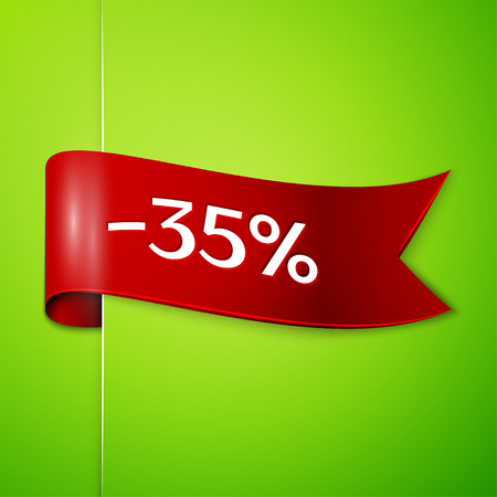 Realistic Red ribbon with text thirty five percent for discount on green background. Colorful realistic sticker, banner for sale, shopping, market, business theme. Vector template for your design