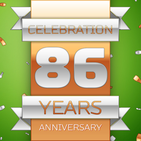 Realistic Eighty six Years Anniversary Celebration Design. Silver and golden ribbon, confetti on green background. Colorful Vector template elements for your birthday party. Anniversary ribbon