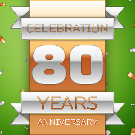 80th: Realistic Eighty Years Anniversary Celebration Design. Silver and golden ribbon, confetti on green background. Colorful Vector template elements for your birthday party. Anniversary ribbon