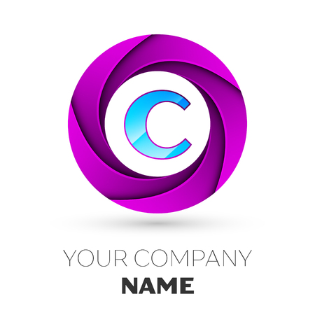 letter c: Realistic Letter C vector logo symbol in the colorful circle on white background. Vector template for your design