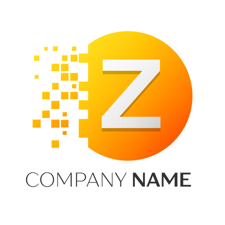 Realistic letter Z vector logo symbol in the colorful circle with shattered blocks on white background. Pixel Motion. Vector template for your design