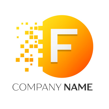 Realistic letter F vector logo symbol in the colorful circle with shattered blocks on white background. Pixel Motion. Vector template for your design