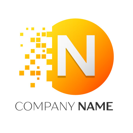 Realistic letter N vector logo symbol in the colorful circle with shattered blocks on white background. Pixel Motion. Vector template for your design Illusztráció