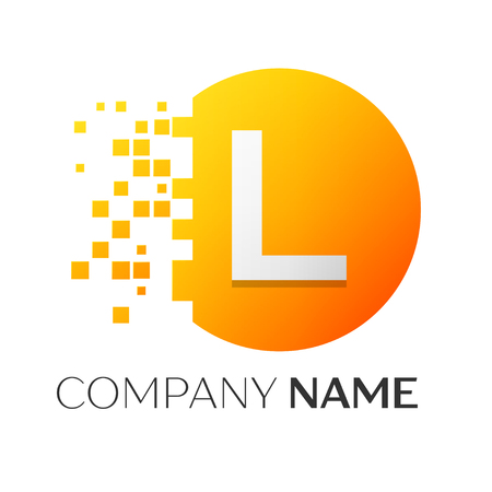Realistic letter L vector logo symbol in the colorful circle with shattered blocks on white background. Pixel Motion. Vector template for your design