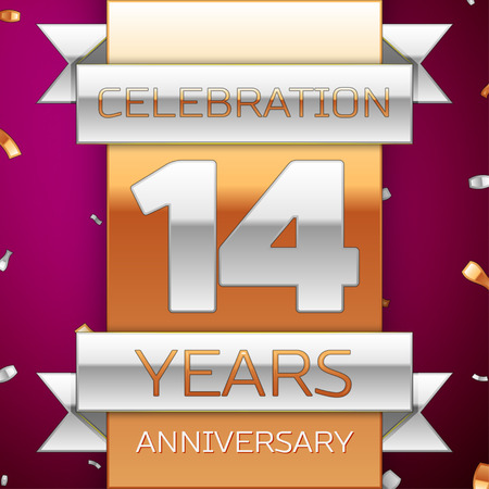 fourteen: Realistic Fourteen Years Anniversary Celebration Design. Silver and golden ribbon, confetti on purple background. Colorful Vector template elements for your birthday party. Anniversary ribbon