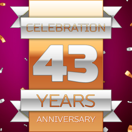 Realistic Forty three Years Anniversary Celebration Design. Silver and golden ribbon, confetti on purple background. Colorful Vector template elements for your birthday party. Anniversary ribbon
