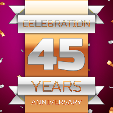 45th: Realistic Forty five Years Anniversary Celebration Design. Silver and golden ribbon, confetti on purple background. Colorful Vector template elements for your birthday party. Anniversary ribbon Illustration