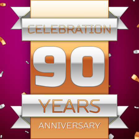 90th: Realistic Ninety Years Anniversary Celebration Design. Silver and golden ribbon, confetti on purple background. Colorful Vector template elements for your birthday party. Anniversary ribbon Illustration