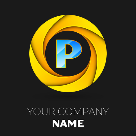 Realistic Letter P Vector Logo Symbol In The Colorful Circle