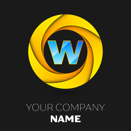 Realistic Letter W vector logo symbol in the colorful circle on black background. Vector template for your design Illustration