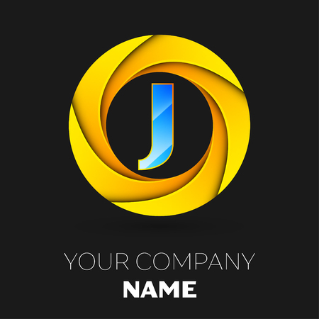 cyan business: Realistic Letter J vector logo symbol in the colorful circle on black background. Vector template for your design