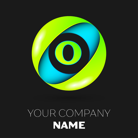 Realistic Letter O vector logo symbol in the colorful circle on black background. Vector template for your design