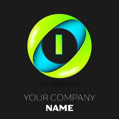私は黒い背景にカラフルなサークルのロゴ シンボル ベクトル現実的な文字。あなたのデザインのベクトル テンプレート  イラスト・ベクター素材