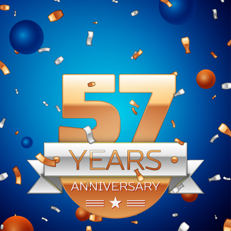 57: Realistic Fifty seven Years Anniversary Celebration Design. Golden numbers and silver ribbon, confetti on blue background. Colorful Vector template elements for your birthday party