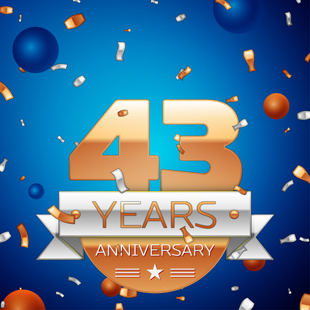 Realistic Forty three Years Anniversary Celebration Design. Golden numbers and silver ribbon, confetti on blue background. Colorful Vector template elements for your birthday party