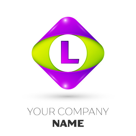 Realistic Letter L vector logo symbol in the colorful rhombus on white background. Vector template for your design