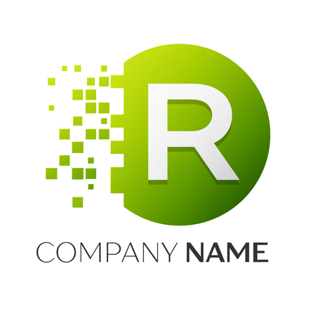 Realistic letter R vector logo symbol in the colorful circle with shattered blocks on white background. Pixel Motion. Vector template for your design Illustration