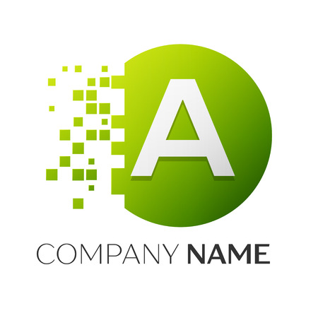 Realistic letter A vector logo symbol in the colorful circle with shattered blocks on white background. Pixel Motion. Vector template for your design Illustration