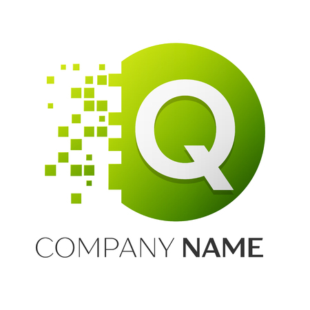 Realistic letter Q vector logo symbol in the colorful circle with shattered blocks on white background. Pixel Motion. Vector template for your design