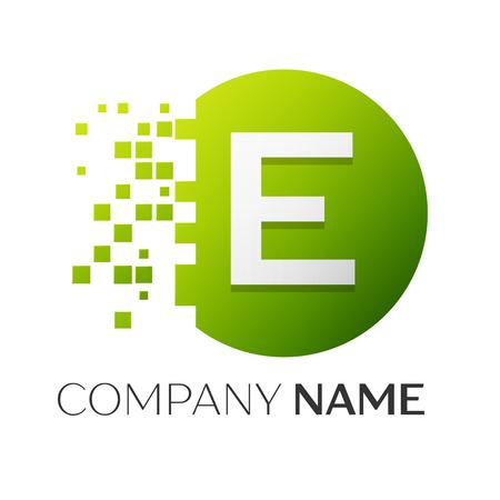 白い背景の上に粉々 になったブロックのカラフルな丸を現実的な文字 E ベクトル ロゴ シンボル。ピクセル モーション。あなたのデザインのベクト