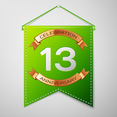 13th: Realistic Green pennant with inscription Thirteen Years Anniversary Celebration Design over a grey background. Golden ribbon. Colorful template elements for your birthday party. Vector illustration