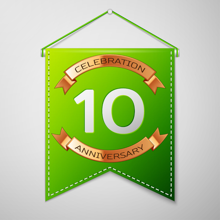 10th: Realistic Green pennant with inscription Ten Years Anniversary Celebration Design over a grey background. Golden ribbon. Colorful template elements for your birthday party. Vector illustration