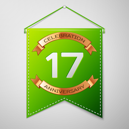 Realistic Green pennant with inscription Seventeen Years Anniversary Celebration Design over a grey background. Golden ribbon. Colorful template elements for your birthday party. Vector illustration