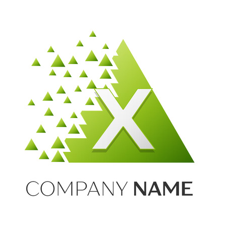 Realistic letter X vector logo symbol in the colorful triangle with shattered blocks on white background. Vector template for your design