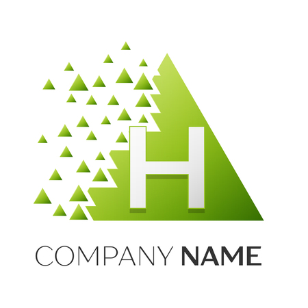 brand identity: Realistic letter H vector logo symbol in the colorful triangle with shattered blocks on white background. Vector template for your design Illustration