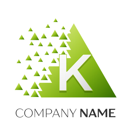 Realistic letter K vector logo symbol in the colorful triangle with shattered blocks on white background. Vector template for your design Illustration