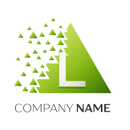 brand identity: Realistic letter L vector logo symbol in the colorful triangle with shattered blocks on white background. Vector template for your design Illustration