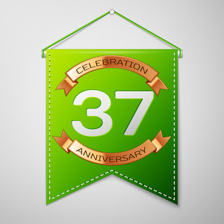 Realistic Green pennant with inscription Thirty seven Years Anniversary Celebration Design on grey background. Golden ribbon. Colorful template elements for your birthday party. Vector illustration Illustration