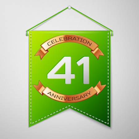 Realistic Green pennant with inscription Forty one Years Anniversary Celebration Design on grey background. Golden ribbon. Colorful template elements for your birthday party. Vector illustration Illustration