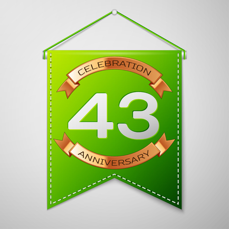 Realistic Green pennant with inscription Forty three Years Anniversary Celebration Design on grey background. Golden ribbon. Colorful template elements for your birthday party. Vector illustration