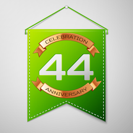 Realistic Green pennant with inscription Forty four Years Anniversary Celebration Design on grey background. Golden ribbon. Colorful template elements for your birthday party. Vector illustration